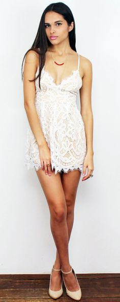 2092565bfc21 Sweet White Lace Romper featuring V-Neck White Lace Romper Nude Linning  Invisible Zipper at