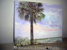 Pawley's Island Palmetto at Sunset by BrownsThreadWorks on Etsy, $48.00