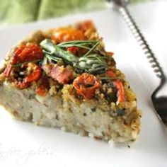 A cross between a frittata and a noodle kugel, this #vegan roasted vegetable pasta pie is reminiscent of a farmer's market on a sunny day. Recipe found at Gluten-free Goddess, found at www.edamam.com