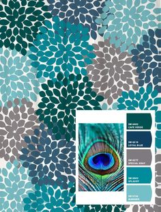 Shower Curtain Peacock Blue Green Gray Inspired Floral