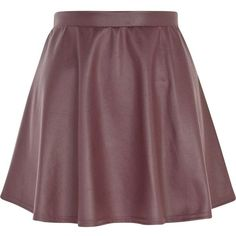 River Island Dark purple coated skater skirt (17 CAD) ❤ liked on Polyvore featuring skirts, skater skirt, sale, river island, circle skirt, twist skirt, dark purple skirt and brown skater skirt