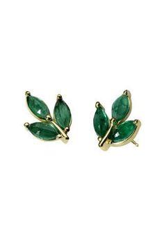 Finn Jewelry Emerald Leaf Studs, $1,220; finnjewelry.com