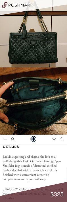 83c89f9d9d33 Tory Burch handbag FLEMING OPEN SHOULDER QUILTED HANDBAG. Color is called  Norwood. Details are