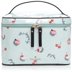 kate spade new york Magnolia Bakery Large Natalie Cosmetic Case (6,700 DOP) ❤ liked on Polyvore featuring beauty products, beauty accessories, bags & cases, magnolia green, makeup purse, kate spade, make up bag, train case cosmetic bag and train case makeup bag