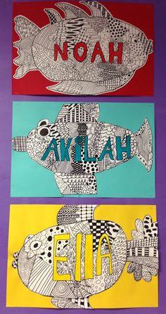 Apex Elementary Art: here fishy, fishy Camping Art, Name Art, Fish Art, Elementary Art, Childrens Art
