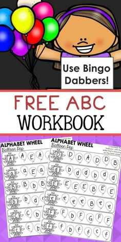 """Download this fun alphabet workbook for your preschoolers! Use a bingo marker to """"POP"""" the correct balloons! Great way to practice ABC's with little ones!"""
