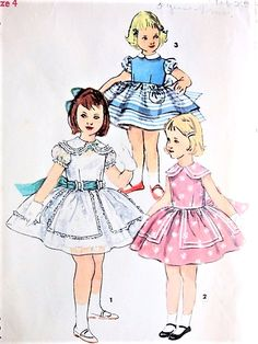 1950s SWEET Little Girls Party Dress Pattern SIMPLICITY 1400 Three PRETTY Styles Perfect Flower Girl Wedding Dress Size 4 Childrens Vintage Sewing Pattern