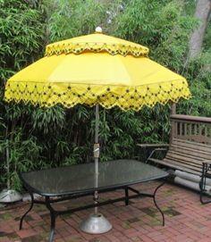 Vintage Umbrella For Patio Table Heavy Vinyl Fringe Huge