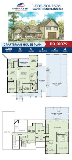 Fall in love with Plan 110-01079, a Craftsman design that offers 2,811 sq. ft., 4 bedrooms, 4.5 bathrooms, an RV bay, a sun room, an office concept, a bonus room and more. To find more details about this Craftsman design, go to our website. Craftsman Style Homes, Craftsman House Plans, Floor Plan Drawing, Best House Plans, Build Your Dream Home, Sun Room, Front Entry, Birds Eye View, Better Love