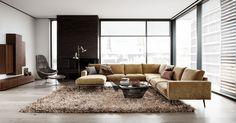 Carlton corner sofa in golden beige Napoli fabric to follow Cherished Gold theme. Soft glam for modern&sleek apartment http://www.boconcept.com/en-gb/furniture/living/sofas/carlton