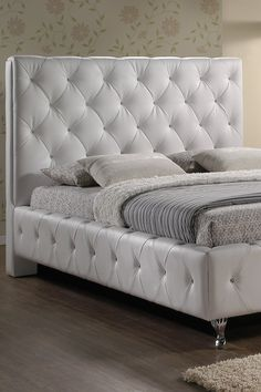 Stella Crystal Tufted Modern Bed with Upholstered Headboard - White