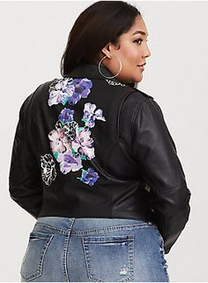 "A moto-inspired faux leather jacket is softened by a floral design on the back, and finished with piped and zippered accents. Pair yours with your favorite skinnies and a killer stiletto heel.    Faux leather fabric  Zip chest pocket  Long sleeves with zip cuffs  Curved hem  Asymmetrical zip closure     CONTENT + CARE     PU/polyester/spandex  Spot clean  Imported     SIZE + FIT     Model is 5'10"", size 1