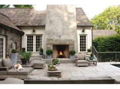 Exterior Design: Outdoor Fireplaces In Farmhouse Patio With Beige Exterior Also Beige Siding And Brown Outdoor Cushions Also Concrete Fireplace And Outdoor Lighting Plus Outdoor Potted Plant And Stone Exterior Also Wood Patio Furniture Outdoor Rooms, Outdoor Gardens, Outdoor Living, Outdoor Decor, Rustic Outdoor, Outdoor Pallet, Outdoor Photos, Outdoor Parties, Outdoor Lounge