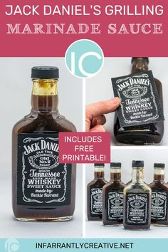 Download my cool printable and give away Jack Daniels Grill Glaze  as a gift!! Made famous from TGI Fridays restaurants and this copycat version can now be easily made at home! #TGIFridays #grillglaze #BBQ #jackdaniels #bbqsauce #sauce #recipe #printable Jack Daniels Marinade, Jack Daniels Sauce, Recipe Printable, Printable Labels, Printables, Easy Diy Crafts, Diy Craft Projects, Tgi Fridays, Marinade Sauce