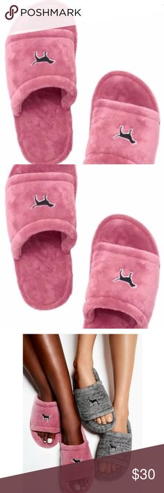 """Victorias Secret Pink Dog Slippers NWT L 9 - 10 Victoria's Secret  From Her """"Pink"""" Collection  Sold Out Discontinued  You Can No Longer Purchase These at or Through Victoria's Secret  Brand New With Tags and or in Factory Packaging   Size- Large 9-10 Victoria's Secret Shoes Slippers"""