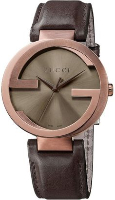 5ffeb813ce6 Gucci Interlocking Brown Pvd and Leather Strap Watch - Lyst