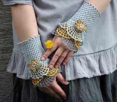 Three Whispers and Three Dandelions - crocheted open work lacy wrist warmers cuffs - Crochet Wrist Warmers, Crochet Mitts, Crochet Gloves, Crochet Scarves, Crochet Shawl, Hand Warmers, Knit Crochet, Crochet Granny, Knitting Yarn