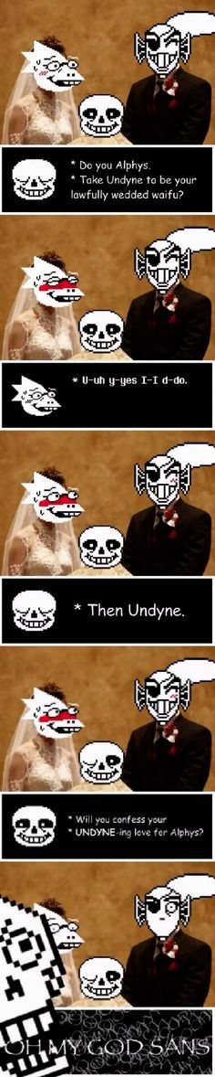 Sans priest vows for Undyne and Alphys' wedding marriage, pun Papyrus