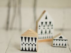 SET of 3 Hand painted wooden village miniature door AnamarkoCute