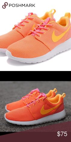more photos f7bff b802d Nike Orange Roshe Sneakers with Pink Laces Ready to spice up your work out  gear