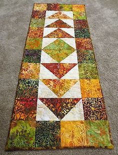 Hand-Made-Quilted-Table-Runner-Hand-Dyed-Batiks-16-034-x-39-034-Multi