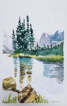 Landscapes I - Modern Watercolor Paintings Nature, Watercolor Painting Techniques, Watercolor Sketchbook, Watercolor Landscape Paintings, Oil Painting Abstract, Abstract Watercolor, Landscape Art, Simple Watercolor, Watercolor Trees
