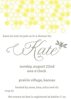 Bumble Bee Baby Shower Invite JPEG by RVparties on Etsy
