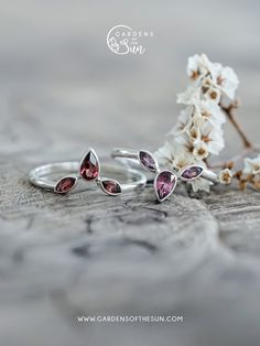 A combination of a pear drop and marquise cut stones create a unique ring that is alluring and sweet.  #ethicaljewelry #sterlingsilver #everydayring #handmadejewelry #gardensofthesun