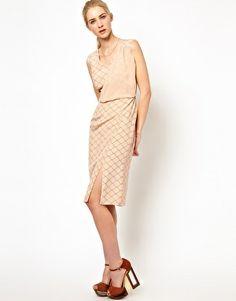 Image 4 ofOlivia Rubin Sleeveless Silk Dress with Drape and Front Split Detail