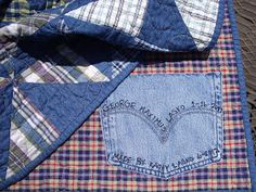 Handicrafty Sisters: More Boy Quilts Love the blue jean pocket for a label!