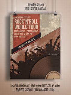 http://graphicriver.net/item/rocknroll-world-tour-flyer-template/10787343  Flyer templates or poster template designed to promote any kind of music event, concert, festival, party or weekly event in a music club and other kind of special evenings.