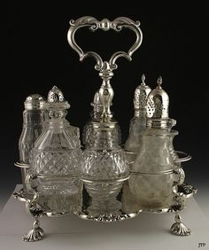 Fine Quality English Sterling 1836 8 Bottle Cruet Set | eBay