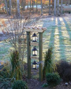 Just a Pic: This would be cute with solar lanterns at the top of our drive.