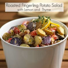 Roasted Fingerling Potato Salad with Lemon and Thyme - Potato Recipes, Nutrition and Types of Potatoes Potato Dishes, Potato Recipes, Fish Recipes, Beef Recipes, Salad Recipes, Healthy Recipes, Veggie Recipes, Delicious Recipes, Yummy Food