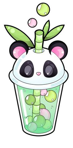 💚cute panda bubble tea background💚 on we heart it Cute Animal Drawings Kawaii, Cute Cartoon Drawings, Cute Easy Drawings, Disney Drawings, Anime Kawaii, Kawaii Art, Panda Lindo, Kawaii Doodles, Cute Panda