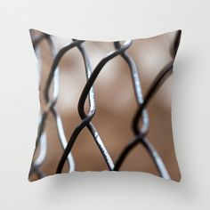 """18"""" Throw Pillow Covers, Abstract Fence Photo Cushion Case, Handmade in Canada, Man Cave Sofa Decor, Teenager Sofa Accent, Boy's Bedroom"""
