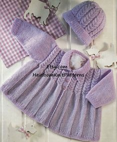 571) 0-2yrs, Adorable Baby/ Toddler Girls and Boys Cable Matinee Coat & Hat, Vintage 4Ply/ Sport Knitting Pattern, Instant download PDF