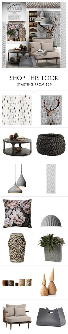 """Scandinavian Country"" by giudittina on Polyvore featuring interior, interiors, interior design, home, home decor, interior decorating, BoråsTapeter, CB2, ferm LIVING and Bloomingville"