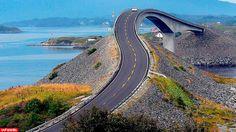 Ponte Ubriaco [or drunk bridge], Atlantic Road, Norway! By Giorgio Ghezzi. Beautiful Roads, Beautiful World, Beautiful Places, Atlantic Road Norway, Atlantic Ocean, Places To Travel, Places To See, Dangerous Roads, Voyage Europe
