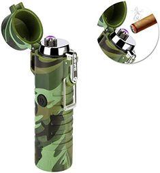 SZSMD Briquet à arc électrique rechargeable par USB avec lampe de poche étanche coupe-vent sans flamme briquet électronique avec boîte cadeau pour cigares cuisine extérieur camping