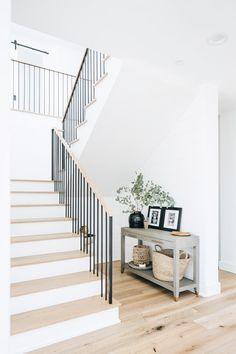 A Bright and Open New Construction by Ashley Clark of Shop sKout Modern Stairs, Staircase Contemporary, House Stairs, Staircase Design, New Construction, Home Renovation, Home Fashion, My Dream Home, Home And Living