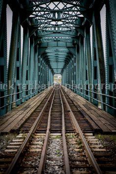 Railroad Photo Fine Art Photography Train Tracks Blue Green Urban Minimalist Modern Industrial (12.00 CAD) by PatrickRabbatPhotos