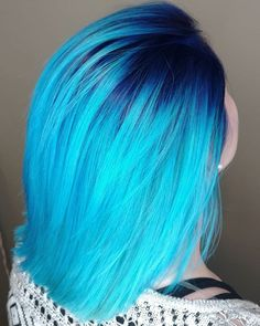 WEBSTA @ adlydesign - Navy blue rooty look melted into Pravana neon blue ends