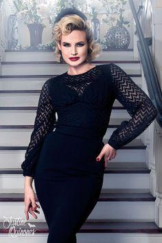 Laura Byrnes California Lisa Top in Black   Pinup Girl Clothing