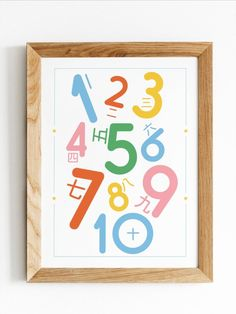A fun and bright poster to learn numbers in Chinese.  This colourful and fun printable would be perfect for a playroom or as decor for a nursery, or kid's bedroom. It's a great gift for parents or teachers. Not only is this poster fun, but it's a great teaching tool for any language teacher. Chinese Posters, Learning Numbers, Learn Chinese, Playroom Decor, Parent Gifts, Teaching Tools, Poster Wall, Printable Wall Art, Terracotta