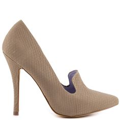 The Jaysie will brings a classic pump with a modern twist.  This ShoeMint look features a loafer inspired upper covered in a taupe snake texture.  A single sole is paired with a 4 1/2 inch heel for an added boost of height.