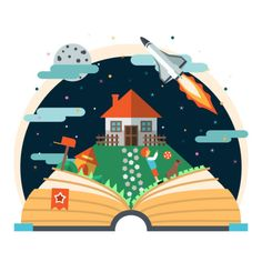 Summer fun reading for kids! Great tips on where to find books, ideas for encouraging, and good book titles for summer reading programs. School Murals, Library Art, Kids Story Books, Library Displays, I Love Books, Altered Books, Storytelling, Book Art, Vector Free