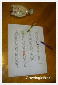New ABC Centers -hide abc cards around the room and kids find the letters, marking what they have found