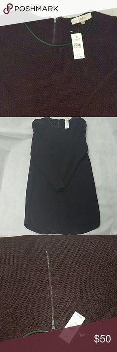 LOFT NWT Sweaterdress L Brand new with tags dark eggplant colored sweater dress with back zip and faux leather detail around the neck. See my closet for the sam dress in grey. LOFT Dresses Mini