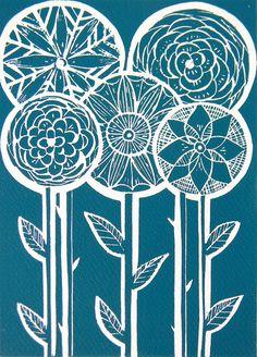 Five Flower Lino Print-Teal Blue by Mangle Prints - Amanda Colville Linocut Prints, Art Prints, Block Prints, Stencil, Linoprint, Pintura Country, Sgraffito, Art And Illustration, Gravure